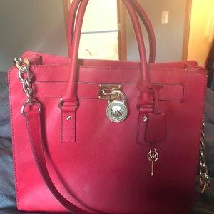 Gently used red Michael kors large Hamilton bag